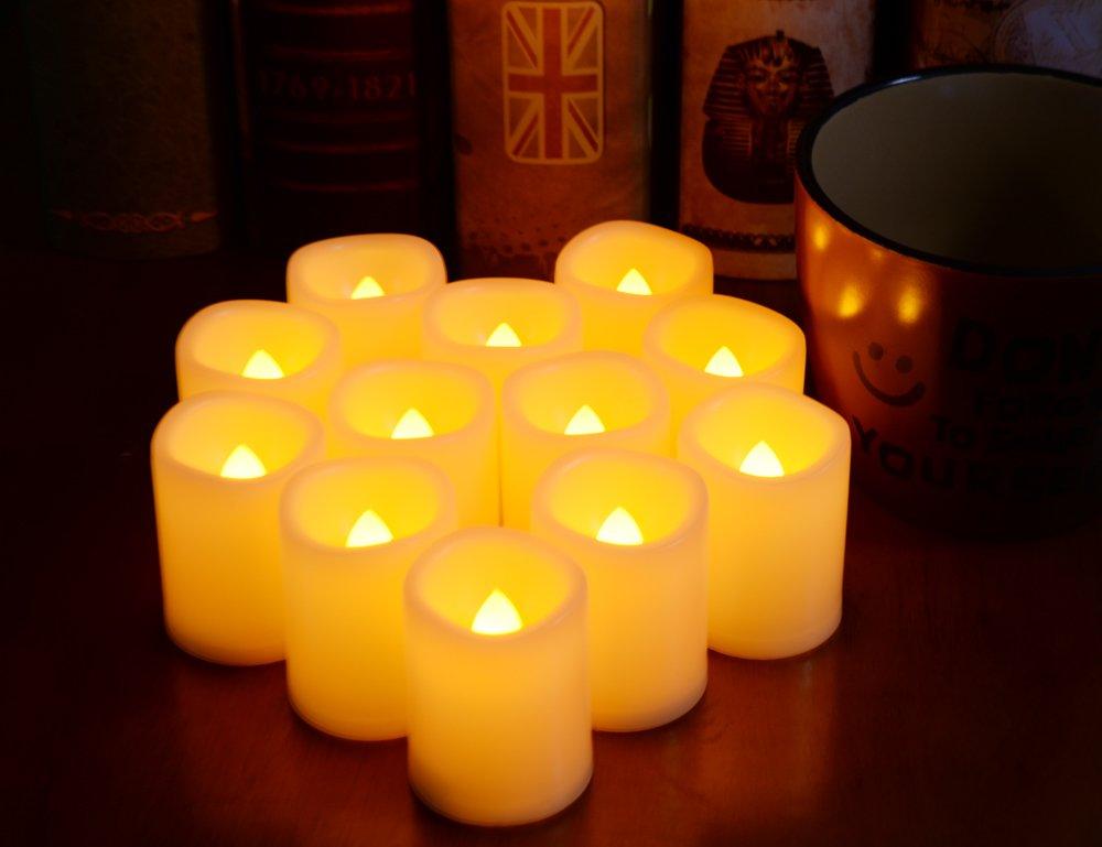 Multi Color Changing Votive Flameless Candles with Remote and Timer 100 Hours Long Battery Operated Led Tea Light Candles,10 Pcs Colored Flickering Candles for Halloween Gift and Wedding D/écor.