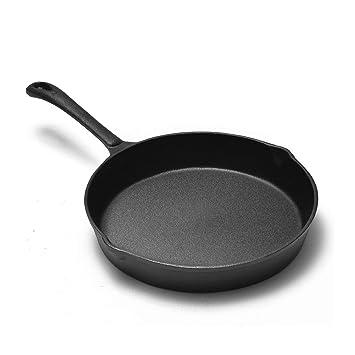 Gjhh Sartén del arrabio 9.8inch, Cacerola Antiadherente Antiadherente sin Revestimiento del Huevo de la Cacerola de la sartén de la Pizza Redonda: ...