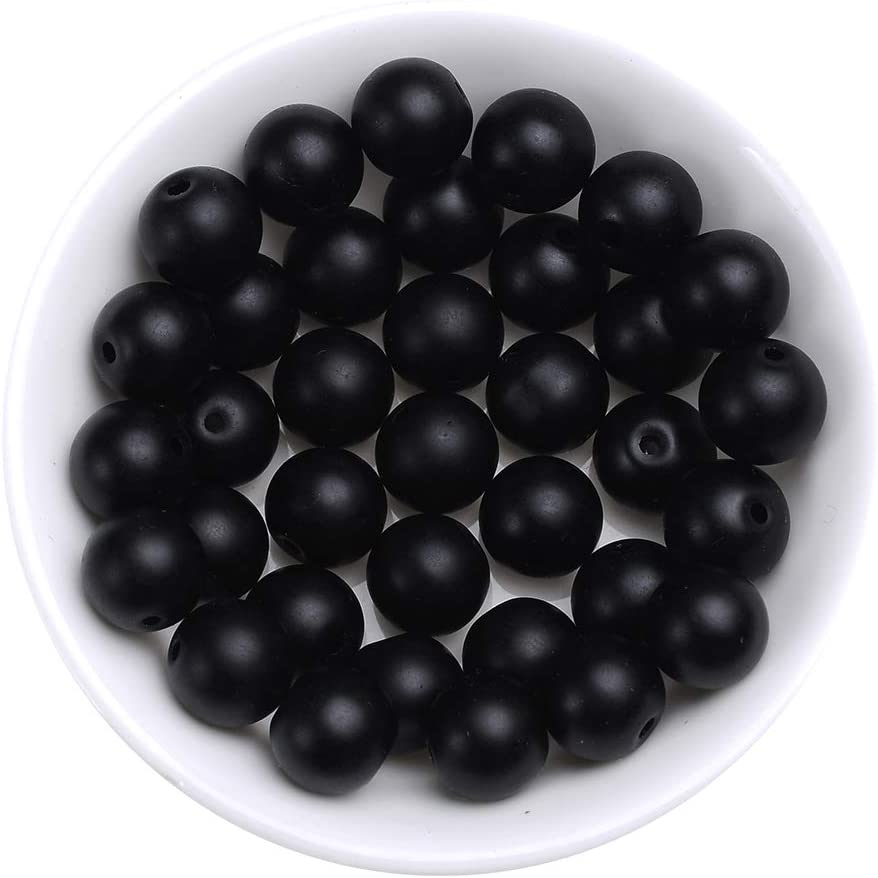 Natural Stone Beads 4mm Black Onyx Agate Matte Gemstone Beads Round Loose Beads Crystal Energy Stone Healing Power for Jewelry Making DIY,1 Strand 15