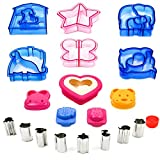 japanese bread mold - Sandwich Bread Vegetable Fruit Cutter Shape Set for Kids - Crust Cookie Cutters Shapes - Egg Sushi Rice Molds - Toast Sandwich Stamp - Accessories for Kids Food Making - Bento Lunch Box -19pcs by ZANN