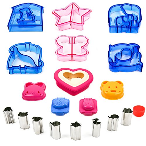Sandwich Bread Vegetable Fruit Cutter Shape Set for Kids - Crust Cookie Cutters Shapes - Egg Sushi Rice Molds - Toast Sandwich Stamp - Accessories for Kids Food Making - Bento Lunch Box -19pcs by ZANN (Cut Outs Hearts Mini)