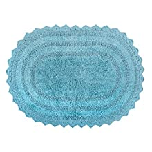 "DII Ultra Soft Spa Cotton Crochet Oval Bath Mat or Rug Place in Front of Shower, Vanity, Bath Tub, Sink, and Toilet, 17 x 24"" - Cameo Blue"