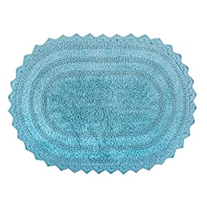 """DII Ultra Soft Spa Cotton Crochet Oval Bath Mat or Rug Place in Front of Shower, Vanity, Bath Tub, Sink, and Toilet, 17 x 24"""" - Cameo Blue"""