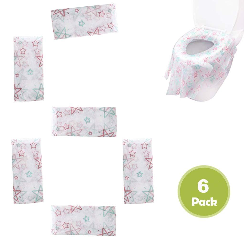 Cubierta de asiento de inodoro desechable impermeable Protectores desechables para asiento 6 piezas Cubierta de asiento de inodoro desechable para ba/ños p/úblicos