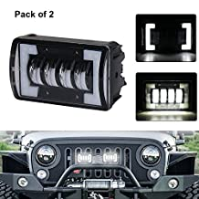 Spot Light Bar, MOVOTOR Waterproof Led Work Light Off Road Light Bar with White Square Bracket Halo for Jeep SUV Truck Pack of 2