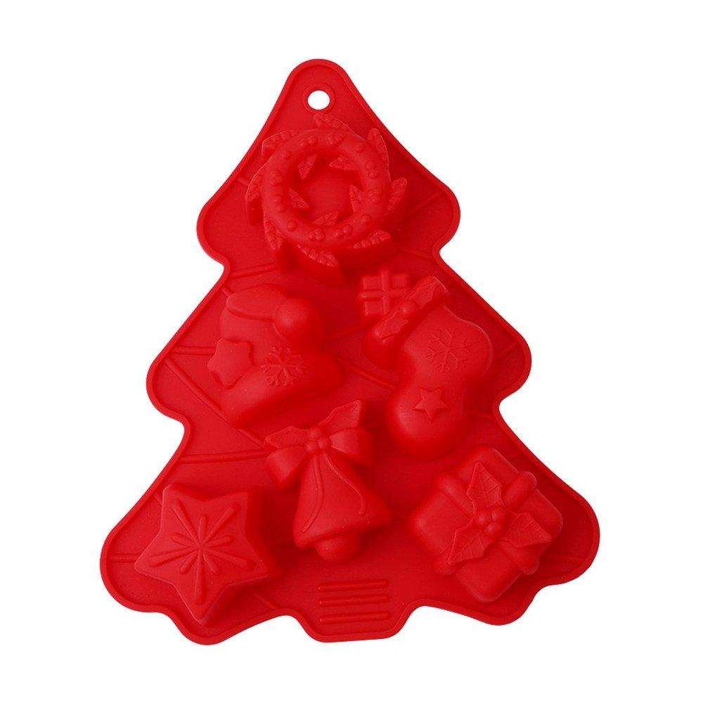 HENGSONG Weihnachten Weihnachtsbaum Silikonform Kuchenform Fondant Schokolade Form DIY Backen Formen Dekorieren mei_mei9