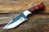 High Carbon Steel Handmade 4.4'' Saw Blade Hunting knife w/Walnut Wood, Steel Bolsters, File-Work & Fine Sheath Cover UDK-C-S-56