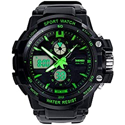 Tonshen Mens Sport Military Digital Watch,LED Electronic Analog Dual Dial Multifunction Two Timezone 12/24H Time Back Light Stopwatch Date Quartz Watches - Green