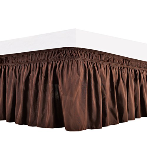 Brown Ruffle - Biscaynebay Wrap Around Bed Skirt, Elastic Dust Ruffle Easy Fit Wrinkle and Fade Resistant Solid Color Hotel Quality Fabric, Queen, Chocolate