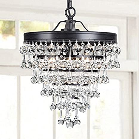 Claudia 3 light crystal glass drop chandelier in antique black claudia 3 light crystal glass drop chandelier in antique black finish aloadofball