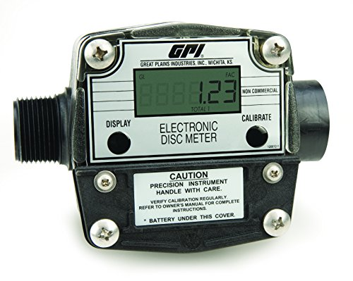 (GPI 120000-1, FM300H-G8N PBT Polyester Nutating Disk Chemical Meter, LCD Display, 1-Inch FNPT, 2-20 GPM, Gallons)