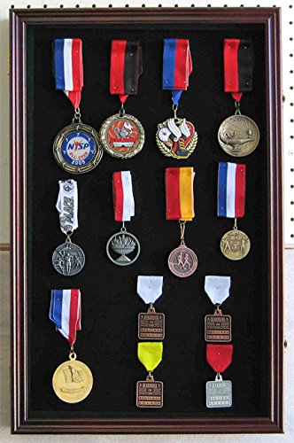 LARGE Pin Medal Display Case Shadow Box Display Case, with Glass Door, (Cherry (Large Display Cabinet)