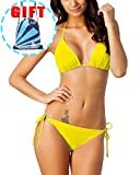 Garlagy Women's Two Piece Swimsuits Triangle Tie Side Bikini Sets Swimwear Halter Athletic Bathing Suits Top Bottom