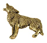 Creative Pewter Designs, Pewter Coyote Full Body Handcrafted Wildlife Lapel Pin Brooch, 24k Gold Plated, MG046