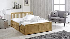4'6 Mission Storage Bed With 6 Drawer Storage In Waxed Pine With flex 1000 Mattress