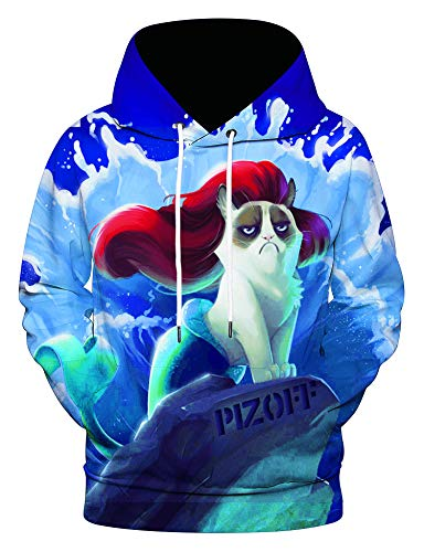 PIZOFF Unisex Graphic Printed Beauty Cat Funny Realistic Fashion Pullover Hooded Sweatshirt
