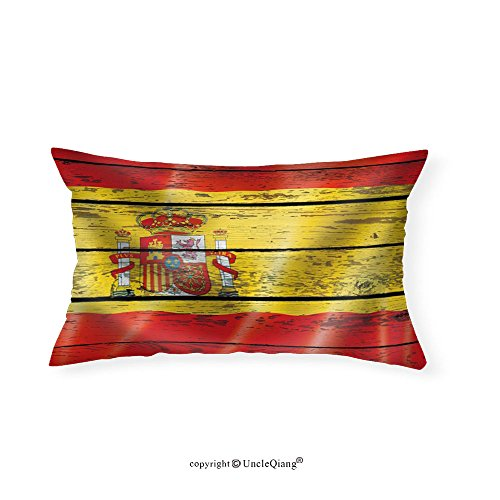 VROSELV Custom pillowcasesFlag of Spain on a Wooden Background - Fabric Home Decor(16''x24'') by VROSELV