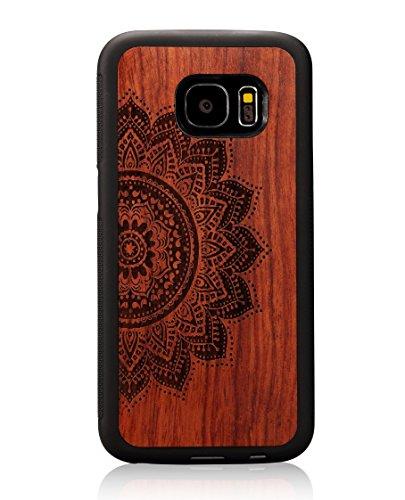S7 Case,Galaxy S7 case,JuBeCo Wood Slim Case+TPU Bumper for Samsung Galaxy S7 (mandala rosewood) by JuBeCo