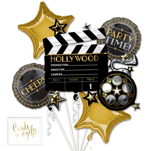 Oscar Party Ideas (Andaz Press Balloon Bouquet Party Kit with Gold Cards & Gifts Sign, Lights Camera Action Bouquet Foil Mylar Balloon Movie Oscar Emmy Themed Decorations,)