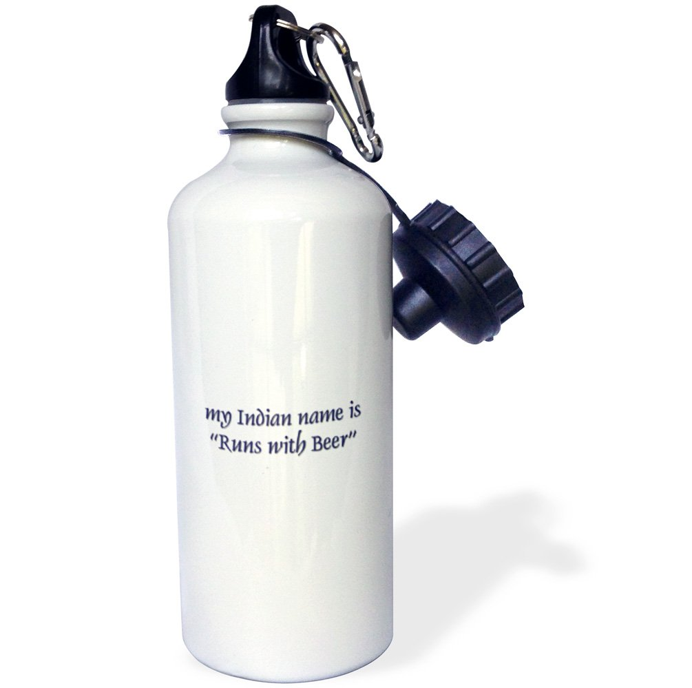 White 21 oz 3dRose wb/_4343/_1My Indian name is Runs with Beer Sports Water Bottle