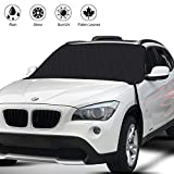 HRDJ Car Windshield Snow Cover, Auto Snow Windshield Cover Ice Removal Wiper Visor Protector Winter Summer Auto Sun Shade with 3-Layer Protection&Double Side Design for Cars Trucks Vans and SUV