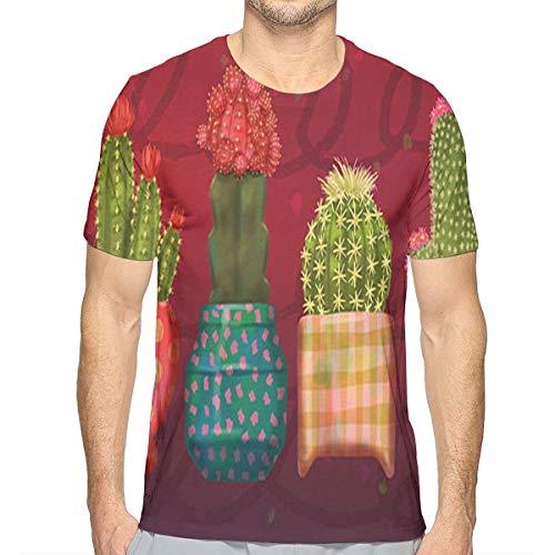 Lee T-shirt Hat - KIM LEES Cactus Men's Round Collar for Teenagers Running White