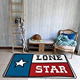 Door Rug Indoors Texas Star Lone Star Flag United States of America Themed Patriotic Design Quick and Easy to Clean W47 xL59 Cobalt Blue Ruby White