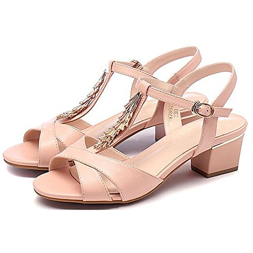 Sandals xiaolin Women's Shoes Summer Leather Fashion Rhinestone Casual Shoes Women High-Heeled Coarse Heel Women With height 5.2cm(Optional Size) Pink DxuESUH8