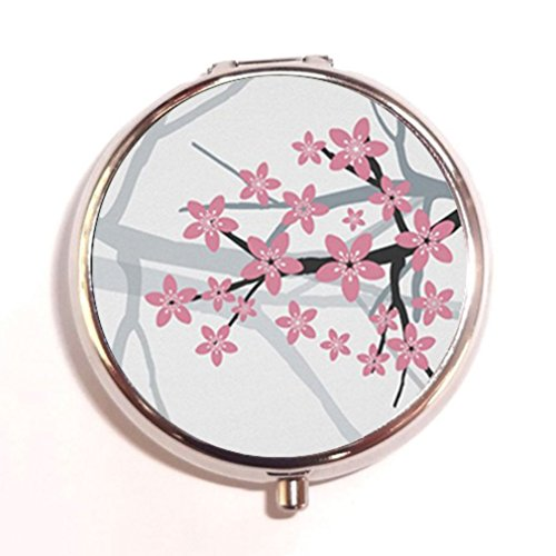 Cherry Lovely (Cherry Blossom Lovely Pink Custom Unique Silver Round Pill Box Medicine Tablet Organizer or Coin Purse)