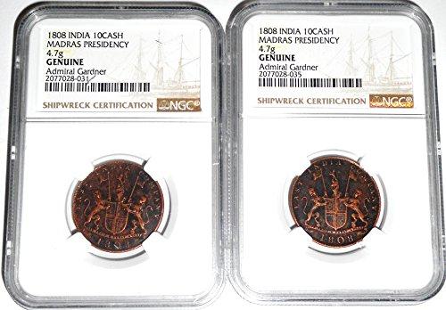 1808 No Mint Mark Two  2  Gardner Shipwreck East India Co Ten Cash Coins 22Mm Ngc Genuine