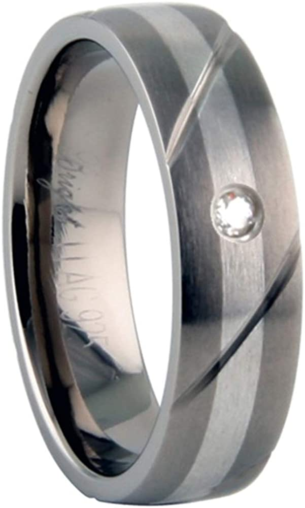 10 Two Tone Stylish and Classy for Men Grooved JewelryVolt Titanium Ring with 925 Silver Inlay and .04ct Diamond Mat Finish