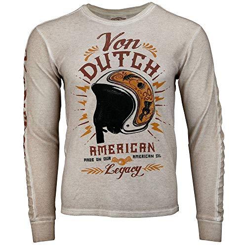 Dutch Long Sleeve - Von Dutch Mens Long Sleeve Thermal Tee Casual T-Shirt Grey XL