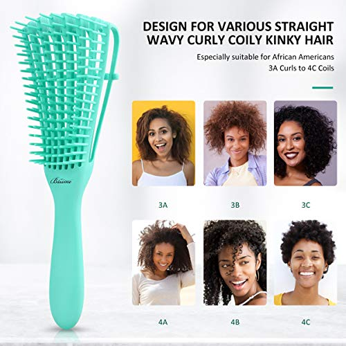 3 Pieces Detangling Brush Comb,Hair Detangler Brush for Black Natural Curly Hair Afro Textured 3/4abc Kinky Wavy Coily…