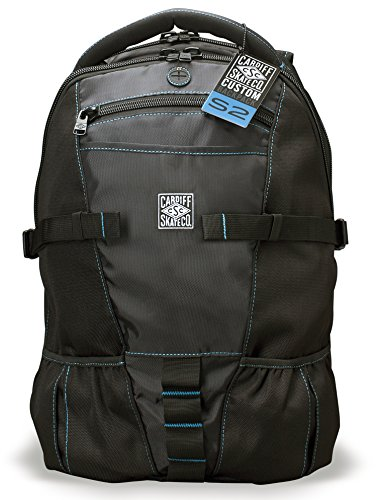 Cardiff Skate Co. Skate Backpack with Blue Accent, Black/Blue