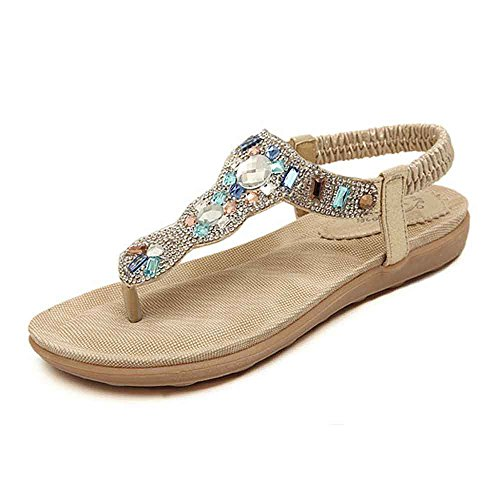 Womens Diamante Slingback Toe Post Flat Sandals Bride Wedding Shoes Beading Thong Sandals With Rhinestone (8 US/EU 39, - Toe Flat Sandal Post