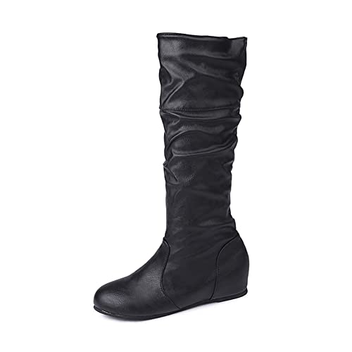 aa355f05225 V-DOTE Womens Ladies Knee High Boots Soft Leather Wide Calf Sexy Mid Calf  Boots Long Riding Boots Flat Slouch Boots Black Grey Brown Sizes 5.5-10  ...