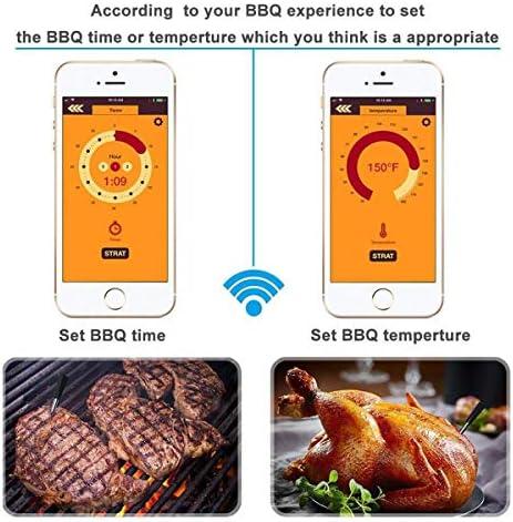 DOLA Intelligentes Drahtloses Digitales Bluetooth-Fleischthermometer - 100 Fuß Große Reichweite Grillthermometer Für Ofen, Grill, Küche, Grill, Raucher, Rotisserie