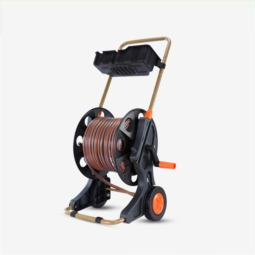 XFSD Premium Hose Trolley, Hose Guide, 30m/98in, with Drain Storage Box, Folding Rocker, Suitable for Garden Watering, Car Washing