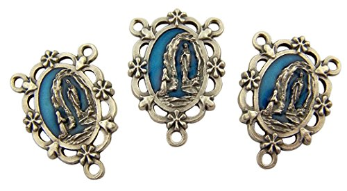 Our Lady Of Lourdes Medals - L&M Blue Enamel Our Lady of Lourdes Floral Rosary Centerpiece Medal, Set of 3, 1 inch
