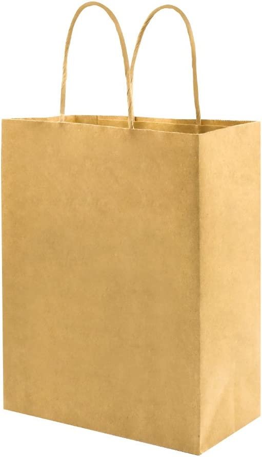 50 Pack 8x4.75x10 inch Plain Medium Paper Bags with Handles Bulk, Bagmad Brown Kraft Bags, Craft Gift Bags, Grocery Shopping Retail Bags, Birthday Party Favors Wedding Bags Sacks, Restaurant Takeouts Business (Natural 50Pcs)
