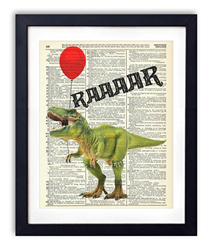 Red Book Poster (T-Rex Dinosaur With Red Balloon Upcycled Vintage Dictionary Art Print Poster 8x10)