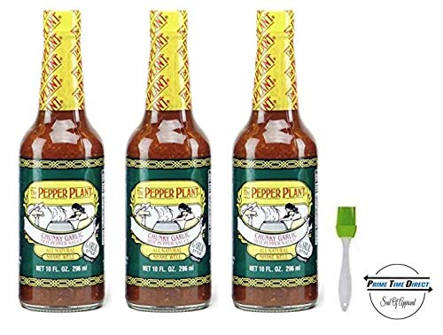 The Pepper Plant Chunky Garlic Hot Pepper Sauce 10 oz (3 Pack) with a Silicone Basting Brush in a Prime Time Direct Bag - Garlic Basting Sauce