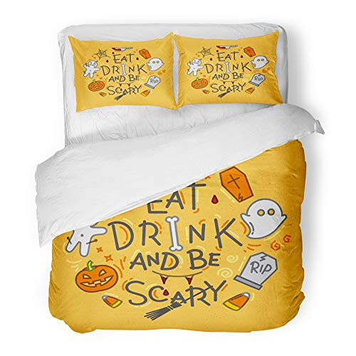 Emvency 3 Piece Duvet Cover Set Brushed Microfiber Fabric Breathable Halloween in Flat Style Lettering Eat Drink and Be Scary Drawing on Mustard Bedding Set with 2 Pillow Covers Full/Queen Size ()