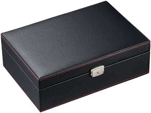 Caddy Bay Collection Carbon Fiber Pattern Solid Top Watch Case Display Storage box Chest Holds 10 Watches With Squeezable Removable Pillows With Red Stitching And High Clearance For Large Watches