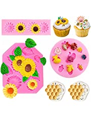 4Pcs Silicone Fondant Tool Molds Set DIY Tools Mold, Mini Silicone Cupcake Fondant Cookie Decorating Molds for Chocolate Cupcake Cookie Desserts Cupcake Cake Topper Decorations