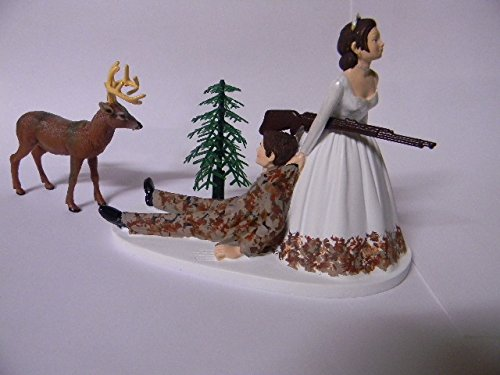 Wedding Party Reception Camo Groom Deer Hunter both dark hair Cake Topper (Camouflage Wedding)
