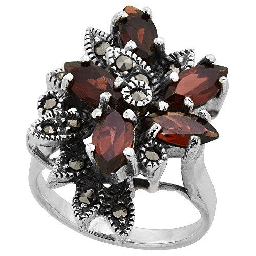 Sterling Silver Garnet Flower Ring (Sterling Silver Marcasite Flower Ring, w/ Natural Garnet, 1 inch (26 mm) wide, size 7)