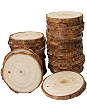 Natural Wood Slices 40 Pcs Unfinished Predrilled with Hole Round Discs Wooden Circles for Christmas Ornaments DIY Crafts Decor