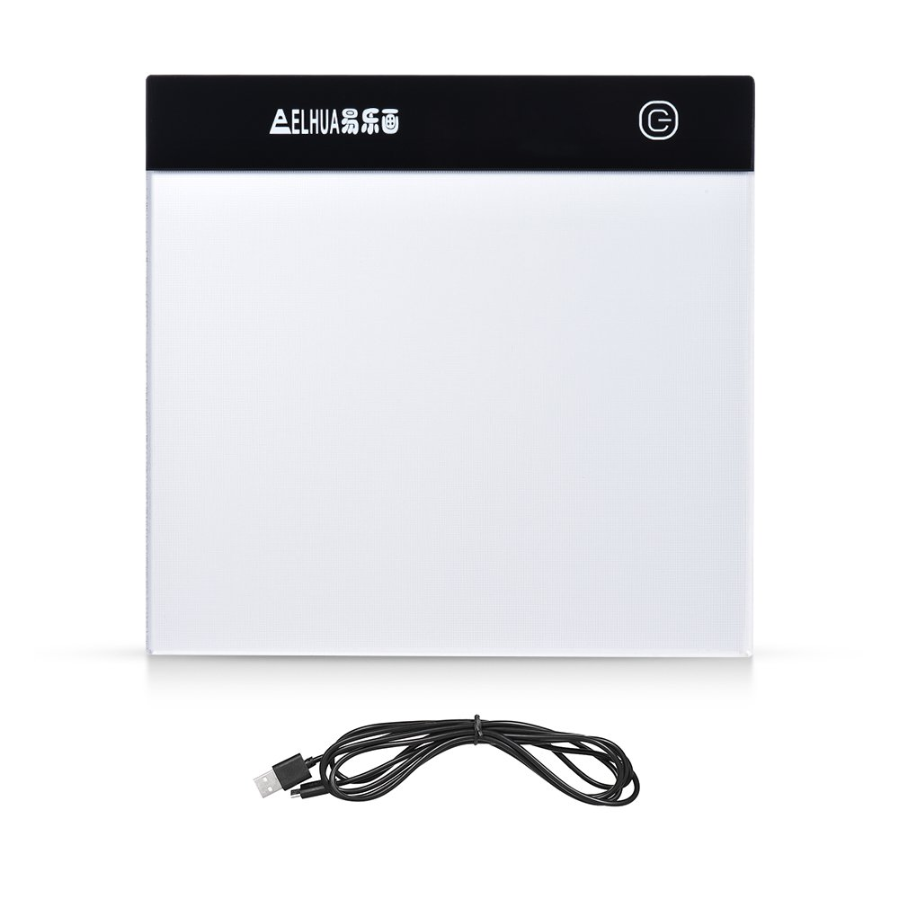 Aibecy Portable A5 LED Light Box Drawing Tracing Tracer Table Pad Panel Copyboard with Stepless Brightness Control USB Cable for Artist Animation Sketching Architecture Calligraphy Stenciling