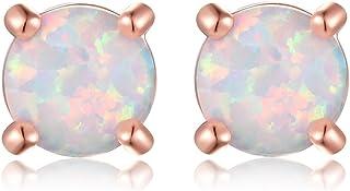 Rose gold stud earrings-Round Created Opal Stud Earrings Gift for Mom (6mm) RoseJeopal E-024